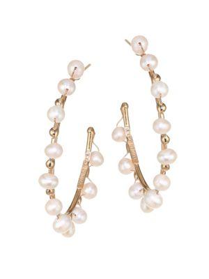 Dada Pearl Goldtone Hoop Earrings
