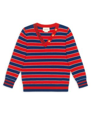 Little Boy's & Boy's Stripe V-Neck Pullover