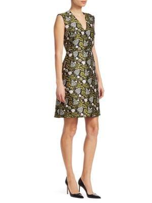 Floral-Print Jacquard A-Line Dress