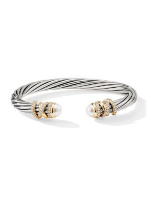 Helena 18K Yellow Gold, Pavé Diamond & Pearl Twisted Cable Bracelet