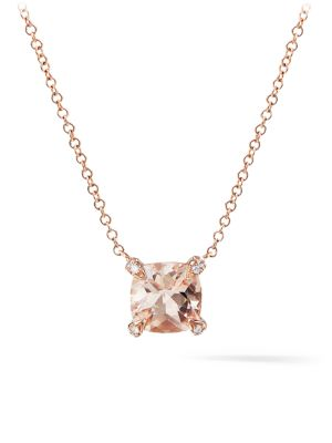 DAVID YURMAN Chatelaine 7MM Morganite Pendant Necklace with Diamonds