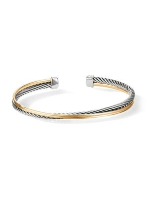 Crossover 18K Yellow Gold & Sterling Silver Cuff Bracelet