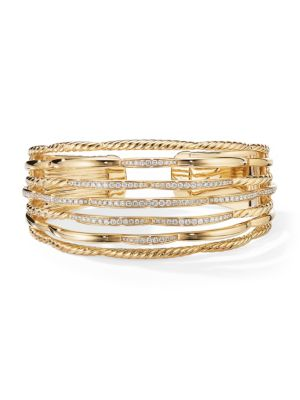 Tides 18K Yellow Gold & Pavé Diamond Cuff Bracelet