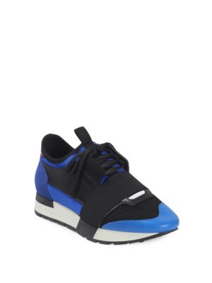 RACE RUNNERS LEATHER, NEOPRENE, JERSEY AND MESH LOW-TOP SNEAKERS
