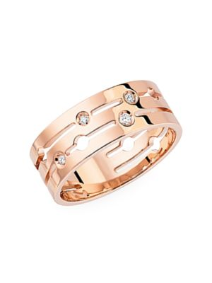 Pulse 18K Rose Gold & Diamond Pavé Medium Ring