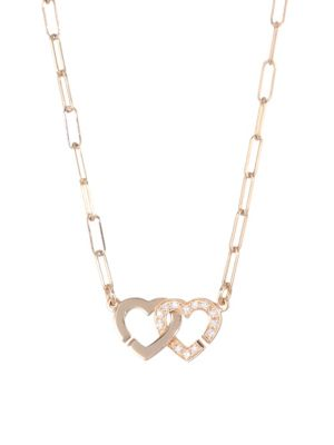 Double Coeurs Diamond & 18K Rose Gold Chain Necklace
