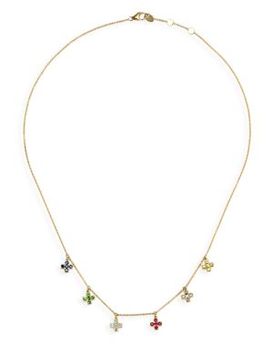 NAYLA ARIDA 18K Yellow Gold & Assorted Gemstones Baby Cross Necklace
