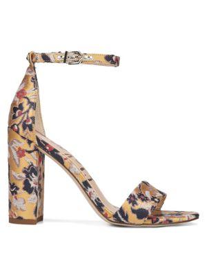 Yaro Floral Block-Heel Sandals