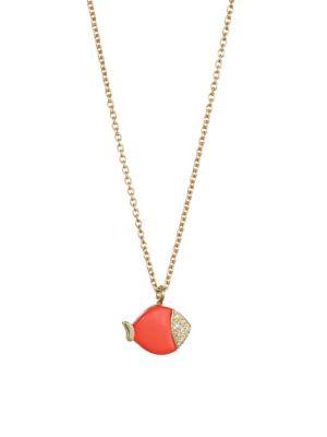 NAYLA ARIDA 18K Yellow Gold Carved Coral & White Diamonds Mini Fish Pendant Necklace