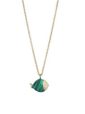 NAYLA ARIDA 18K Yellow Gold Carved Malachite White Diamonds Mini Fish Necklace