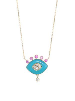 NAYLA ARIDA 18K Yellow Gold Turquoise Enamel, Pink Sapphire & White Diamonds Eye Pendant Necklace