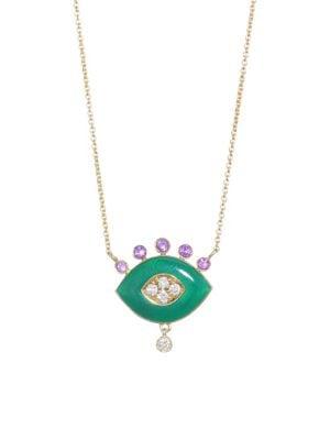 18K Yellow Gold Green Enamel, Amethyst & White Diamonds Eye Pendant Necklace