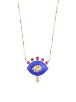 NAYLA ARIDA 18K Yellow Gold Dark Blue Enamel, Ruby & White Diamonds Eye Pendant Necklace