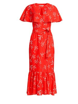 BORGO DE NOR Margarita Printed Midi Dress with Capelet