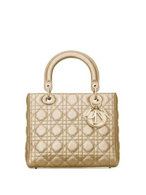 Medium Cannage Metallic Leather Lady Dior Bag by Dior