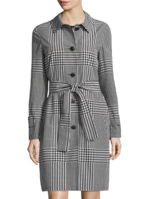 PATCHWORK HOUNDSTOOTH TRENCH COAT