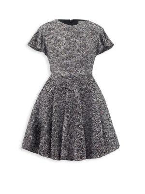 Girl's Ruffled-Sleeve Tweed Dress