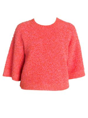 Cropped Boucle-Knit Sweater
