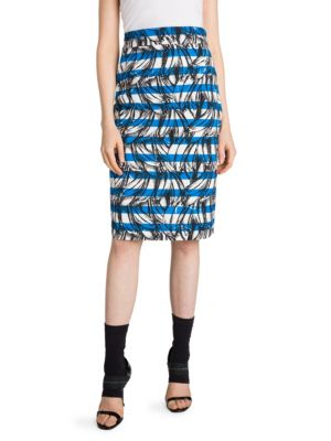 Banana Stripe Print Cotton Pencil Skirt