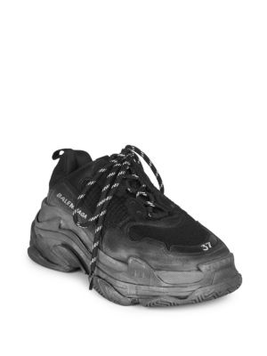 BALENCIAGA TRIPLE S MEN'S TONAL MESH & LEATHER SNEAKERS, ALL BLACK