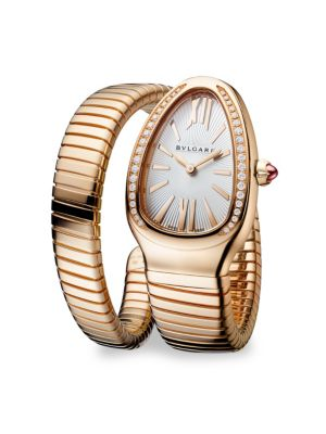 BVLGARI Serpenti Rose Gold & Diamond Twist Watch
