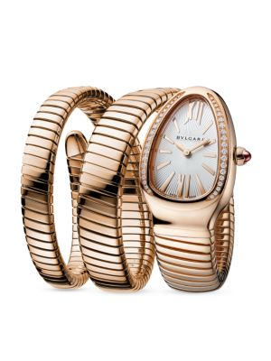 BVLGARI Serpenti Rose Gold & Diamond Twist Bracelet Watch