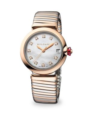 BVLGARI Lucea Stainless Steel & Rose Gold Diamond Bracelet Watch