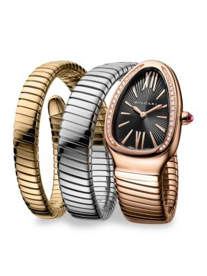 BVLGARI Serpenti Three-Tone Gold Twist Watch