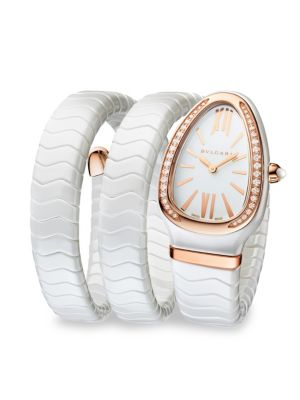 BVLGARI Serpenti White Ceramic & 18k Rose Gold Twist Bracelet Watch
