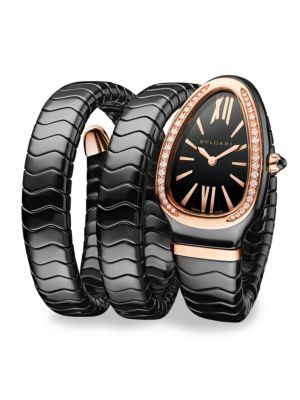 BVLGARI Serpenti Black Ceramic & 18k Rose Gold Twist Bracelet Watch