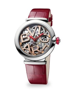 BVLGARI Lucea Stainless Steel & Alligator Strap Skeletonized Watch