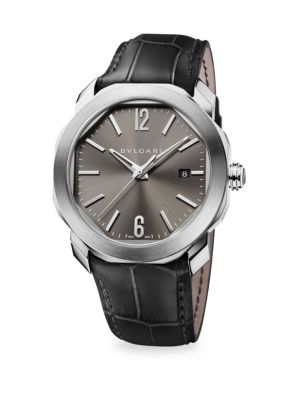 BVLGARI Octo Leather-Strap Watch