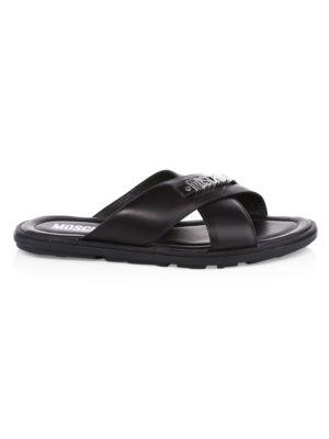 Moschino Logo Hardware Leather Sandals E2fC2oNBju