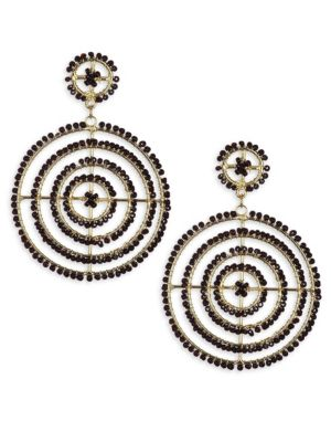 Jet Bead Gypsy Hoop Earrings