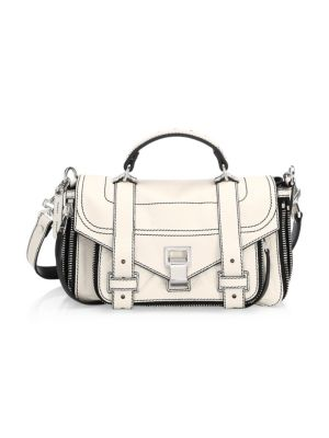 TINY PS1 PAPER LEATHER SATCHEL - IVORY