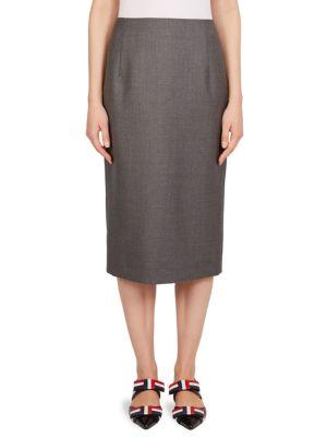 RWB Stripe Wool Pencil Midi Skirt