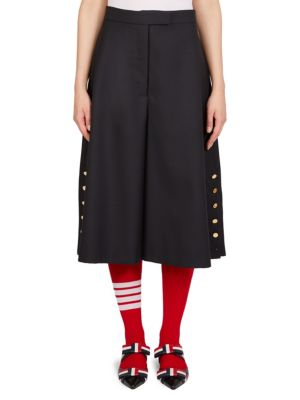 Buttoned Wool Culottes