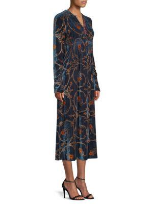 Velvet Floral Midi Dress