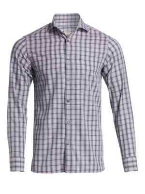 Z ZEGNA Tonal Check Woven Cotton Shirt