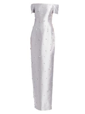 CATHERINE REGEHR Embellished Off-The-Shoulder Gown