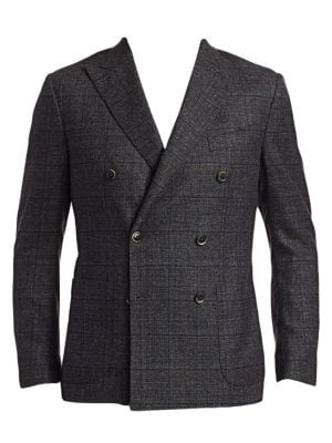 COLLECTION Double-Breasted Muted Plaid Basketweave Sportcoat
