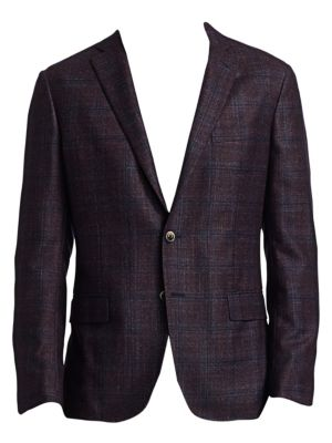 COLLECTION Textured Wool, Silk & Cashmere Plaid Sportcoat