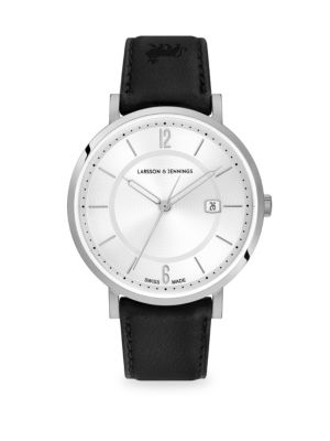 LARSSON & JENNINGS Opera White & Silver Stainless Steel Leather Strap Watch