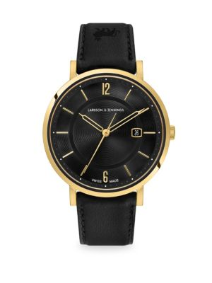 Opera Black & 23K Yellow Goldtone Stainless Steel Leather Strap Watch