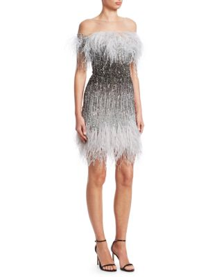 PAMELLA ROLAND OSTRICH FEATHER OMBRE SEQUIN EMBROIDERED COCKTAIL DRESS