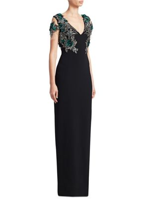 PAMELLA ROLAND Embroidery Column Gown
