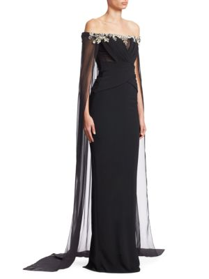 PAMELLA ROLAND OFF-THE-SHOULDER STRETCH-CREPE COLUMN EVENING GOWN W/ CHIFFON CAPE