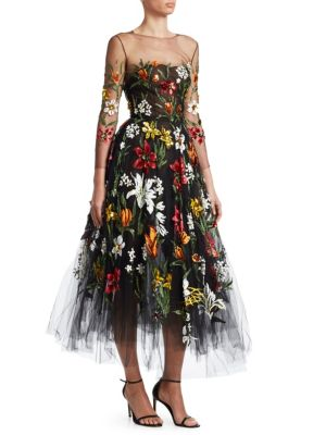 OSCAR DE LA RENTA Illusion Tulle Floral A-Line Dress