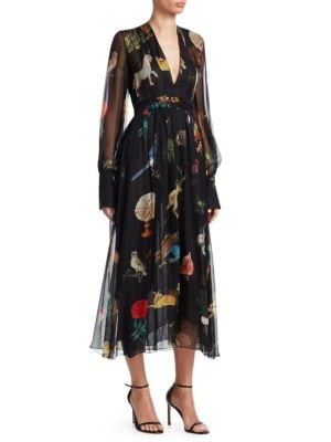 OSCAR DE LA RENTA Enchanted Floral-Print Silk Midi Dress