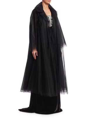 OSCAR DE LA RENTA Long-Sleeve Tulle Coat